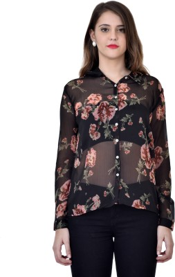 Colors Couture Women's Printed Casual Black Shirt