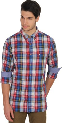 French Connection Men's Checkered Casual Red, Blue Shirt