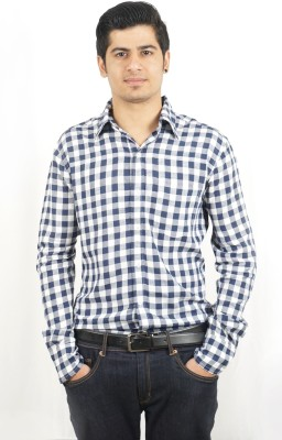 Swagger Men's Checkered Casual Blue Shirt