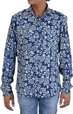 Indigos and Organics Men's Floral Print Casual Dark Blue Shirt