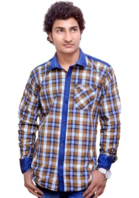 Attitude Works Men's Checkered Casual Blue Shirt