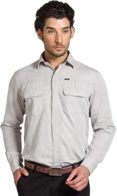 Klub Fox Men's Solid Casual Beige Shirt