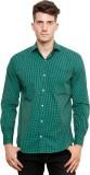 Ebry Men's Checkered Casual Green Shirt