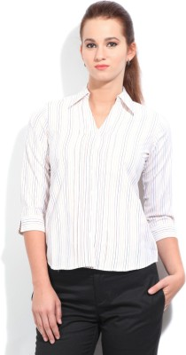 STYLE QUOTIENT BY NOI Women's Striped Formal White, Yellow Shirt