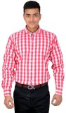 LECARDE Men's Checkered Casual Red Shirt