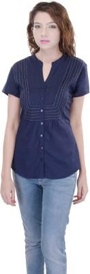 OVIYA Women,s Solid Casual Blue Shirt