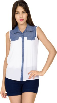 IDENTITI Women's Solid Casual White Shirt
