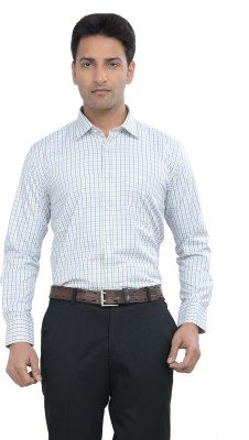 Countryside Men's Checkered Formal Yellow, Blue, White Shirt