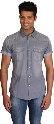 Right Shape Men's Solid Casual Denim Grey Shirt