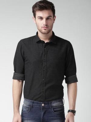 Mast & Harbour Men's Self Design Casual Black Shirt