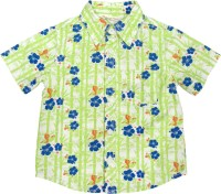 Beebay Baby Boys Floral Print Casual Light Green Shirt