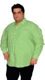 XMEX Men's Striped Formal Green Shirt
