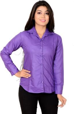 Jazzy Ben Women's Solid Formal Purple Shirt
