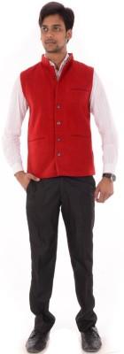 OM PRINTS Men's Self Design Casual Red Shirt
