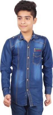 Aedi Boy's Solid Casual Denim Blue Shirt