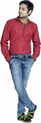 Bombay Casual Jeans Men's Solid Casual Maroon Shirt