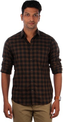 Indian Terrain Men's Checkered Casual Black, Brown Shirt