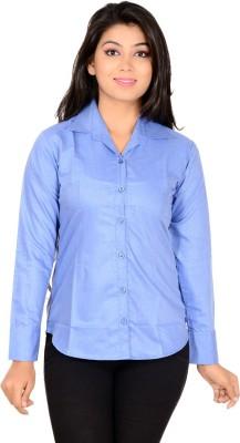 Jazzy Ben Women's Solid Formal Blue Shirt
