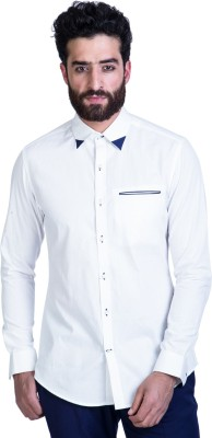 Mr Button Men's Solid Casual White Shirt