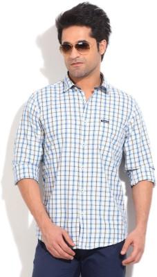 Pepe Jeans Men's Checkered Formal White, Blue Shirt