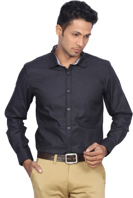 D,INDIAN CLUB Men's Checkered Formal Black Shirt