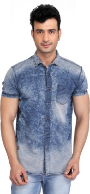 Glabrous Men,s Solid Casual Blue Shirt