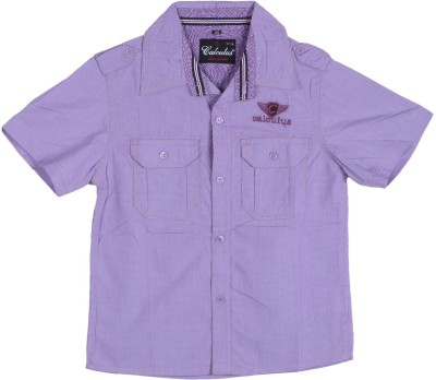 Calculus Boy's Solid Casual Purple Shirt