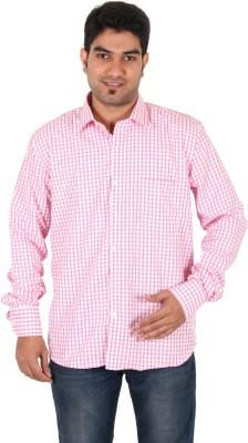 Green Apple Men's Checkered Formal Pink Shirt