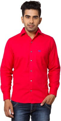 Nauhwar Men's Solid Formal Red Shirt