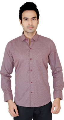 X-Secret Men's Solid Formal Maroon Shirt