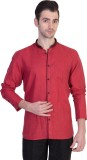 Desam Men's Solid Casual Linen Red Shirt