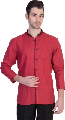 Desam Men's Solid Casual Linen Red Shirt