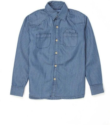 London Fog Boy's Polka Print Casual Blue Shirt