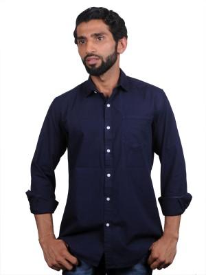 maclavaro Men's Solid Casual Blue Shirt
