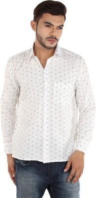 FDS Men,s Self Design Casual White, Black Shirt