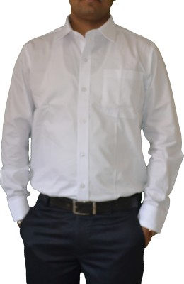 Dhawal Men's Self Design Formal White Shirt