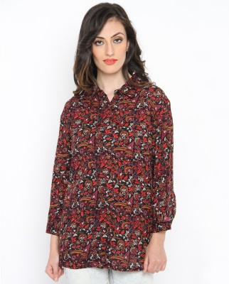 Philigree Women's Floral Print Casual Black, Orange Shirt
