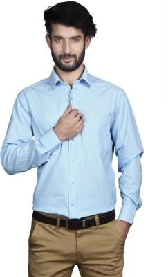 Yorkshire Men's Striped Formal Light Blue Shirt