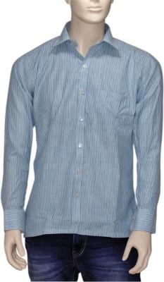 Exin fashion Men's Striped Casual Light Blue Shirt
