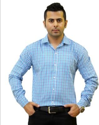 Togsun Men's Checkered Casual Light Blue Shirt