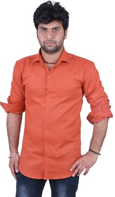 Royal Crown Men's Solid Casual Orange Shirt