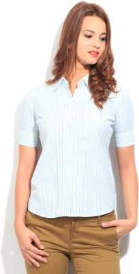 STYLE QUOTIENT BY NOI Women's Striped Formal White, Blue Shirt