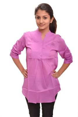 Laxmi Enterprises Women's Solid Wedding, Casual, Party, Formal Purple Shirt