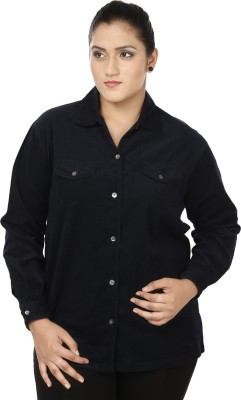 Eves Pret A Porter Women's Solid Casual Dark Blue Shirt