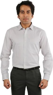 Desar Rana Men's Harringbone Formal Silver Shirt
