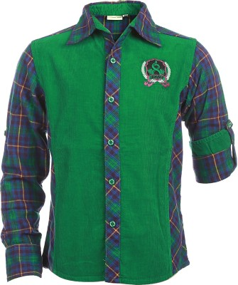 Lumber Boy Boy,s Self Design Casual Green, Blue Shirt