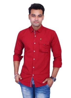La Milano Men's Solid Casual Red Shirt
