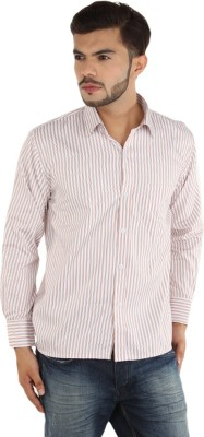 FDS Men,s Striped Casual Beige, White Shirt