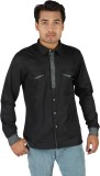 TomBerry Men's Solid Casual Black Shirt