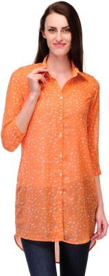Payless Women's Printed Casual Orange, Beige Shirt